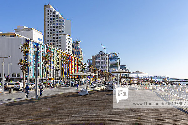 View of colourful buildings and promenade on Hayarkon Street  Tel Aviv  Israel  Middle East