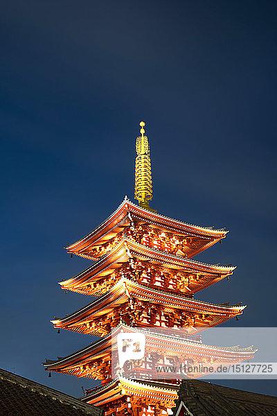 The Five Storey Pagoda at dusk next to the Senso-ji Temple in Asakusa  Tokyo  Honshu  Japan  Asia