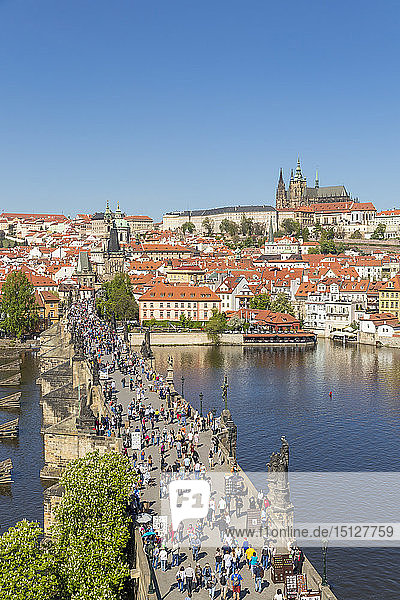 Elevated view from the Old Town Bridge Tower over Prague Castle and the Mala Strana District  UNESCO World Heritage Site  Prague  Bohemia  Czech Republic