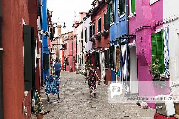Colourful Burano houses  Venice  Veneto  Italy  Europe