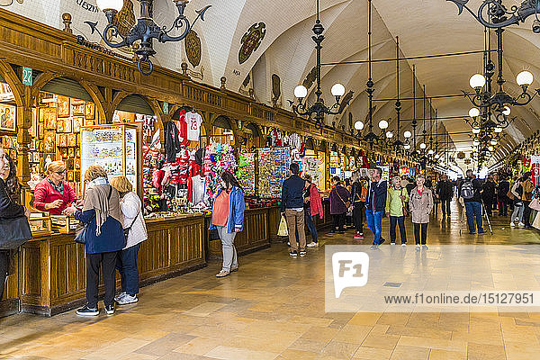 The market hall in Cloth Hall in the medieval old town  a UNESCO World Heritage Site  Krakow  Poland  Europe