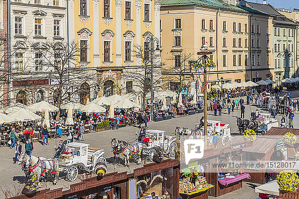 The main square  Rynek Glowny  in the medieval old town  UNESCO World Heritage Site  Krakow  Poland  Europe