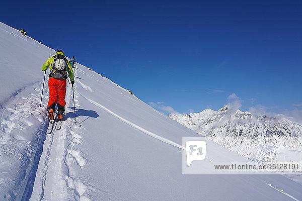 Ski touring in the Lyngen Alps  Lyngen peninsula  Troms County  Norway  Scandinavia  Europe