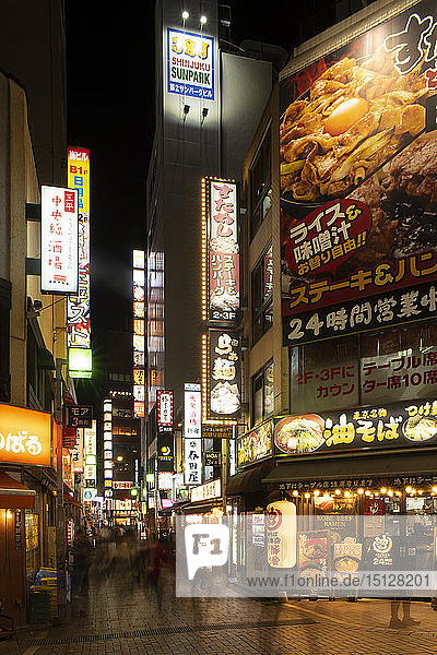 Neon signs in the Kabukicho district  a popular centre of nightlife and entertainment in Tokyo  Honshu  Japan  Asia