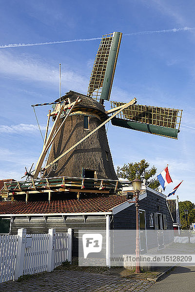 The old windmill Krijtmolen d'Admiraal dating from 1792 in Amsterdam Noord  Amsterdam  North Holland  The Netherlands  Europe