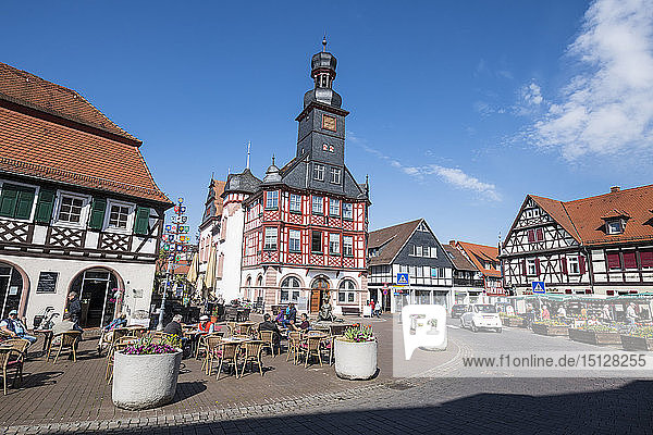 Market square with the old town hall of Lorsch  Hesse  Germany  Europe