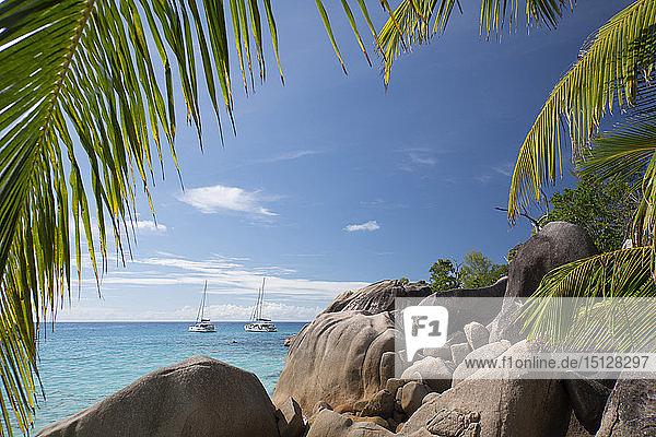 Distinctive limestone rock formations at Anse Lazio on Baie Chevalier  Praslin  Seychelles  Indian Ocean  Africa