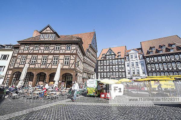 Historic market square  UNESCO World Heritage Site  Hildesheim  Lower Saxony  Germany  Europe