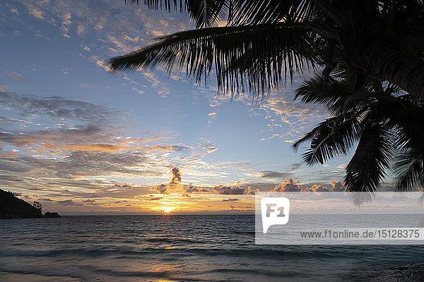 Sunset on Petit Anse  Mahe  Seychelles  Indian Ocean  Africa