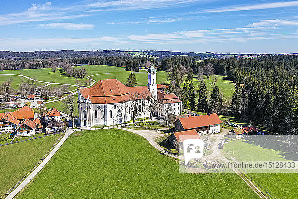 Aerial of the Pilgrimage Church of Wies  UNESCO World Heritage Site  Bavaria  Germany  Europe