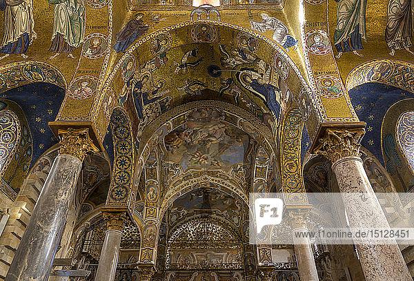 Interior of the Santa Maria dell'Ammiraglio church (La Martorana)  UNESCO World Heritage Site  Palermo  Sicily  Italy  Europe