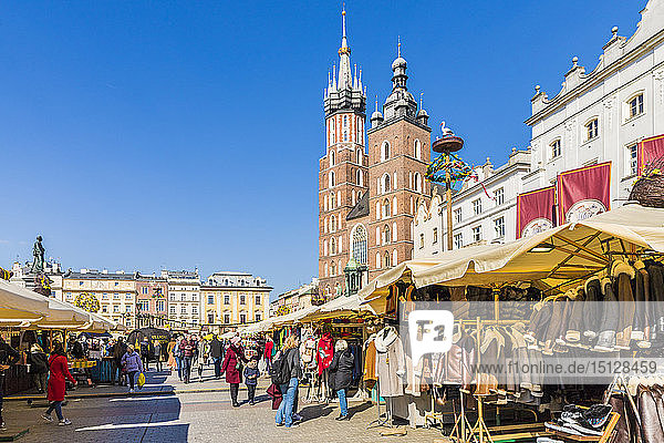 St. Mary's Basilica in the main square in the medieval old town of Krakow  UNESCO World Heritage site  in Krakow  Poland  Europe