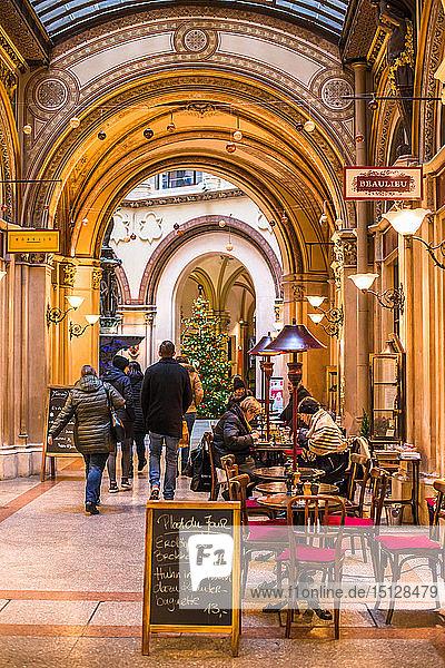 Cafe and shops in the Freyung Passage  Palais Ferstel  Herrengasse street  Innere Stadt  Vienna  Austria  Europe