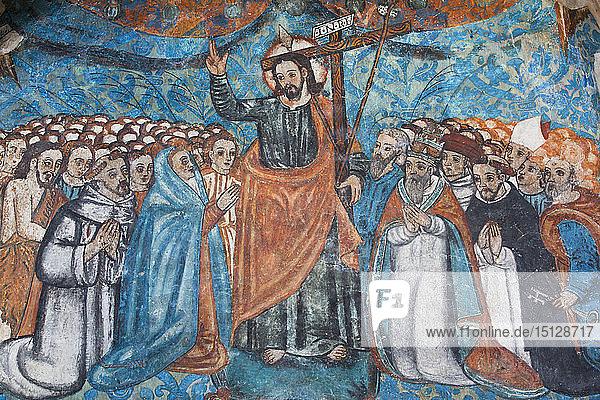 Original 16th century frescoes  Convent de San Bernadino de Siena  built 1552-1560  Valladolid  Yucatan  Mexico  North America