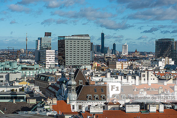 Vienna city skyline seen from the top of St. Stephens Cathedral (Stephansdom) North tower  Vienna  Austria  Europe