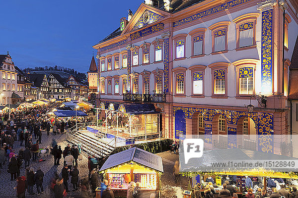 Christmas market and Advent calendar at the townhall  Gengenbach  Black Forest  Baden-Wurttemberg  Germany  Europe