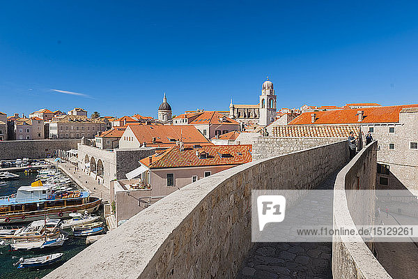 Dubrovnik Harbour and walls  UNESCO World Heritage Site  Dubrovnik  Croatia  Europe