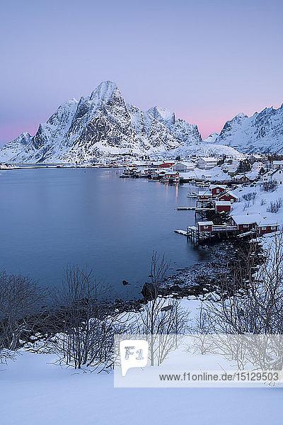 Sunrise at Reine in winter  Reinefjord  Moskenesoya  Lofoten  Arctic  Norway  Europe