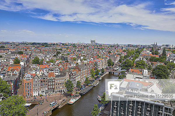 An aerial view of the Jordaan and Prinsengracht  Amsterdam  North Holland  The Netherlands  Europe