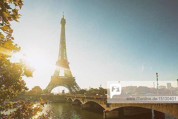 Eiffel Tower early in the morning  viewed from the other side of the River Seine  Paris  France  Europe