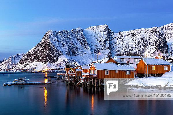 Rorbuer huts  rorbu  Sakrisoy  Moskenesoya  Lofoten islands  Nordland  Arctic  Norway  Europe
