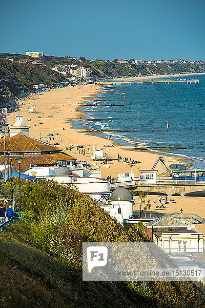 Elevated views of Bournemouth beach from the clifftops  Dorset  England  United Kingdom  Europe
