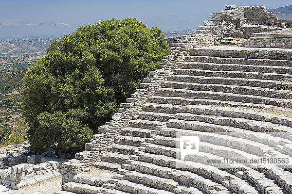 Well-preserved remains of the Greek theatre on Monte Barbaro at the ancient city of Segesta  Calatafimi  Trapani  Sicily  Italy  Mediterranean  Europe