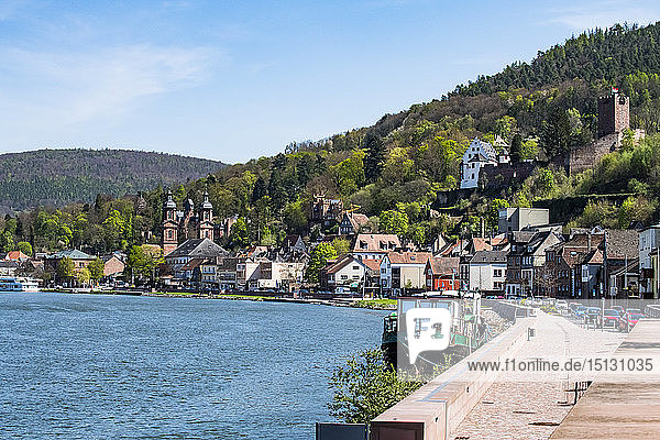 The historic town of Miltenberg along the Main River  Bavaria  Germany  Europe