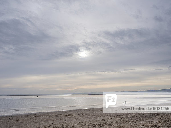 Tranquil scene in soft early afternoon light on Exmouth beach  Exmouth  Devon  England  United Kingdom  Europe