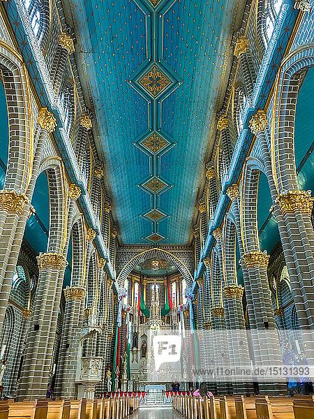 Blue and gold interior of the Basilica Menor de la Immaculada Concepcion  Jardin  Antioquia  Colombia  South America