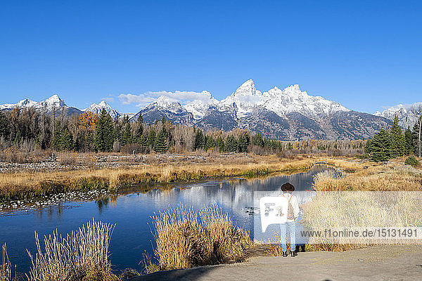 Schwabacher landing  Teton Range  Grand Teton National Park  Wyoming  United States of America  North America