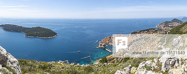 Panoramic view of Old Walled City of Dubrovnik and Adriatic Sea from elevated position  Dubrovnik Riviera  Croatia  Europe