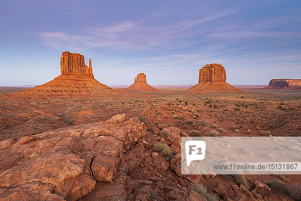 Sandstone buttes in Monument Valley Navajo Tribal Park on the Arizona-Utah border  United States of America  North America