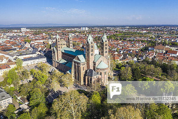 Aerial of Speyer Cathedral  UNESCO World Heritage Site  Speyer  Germany  Europe