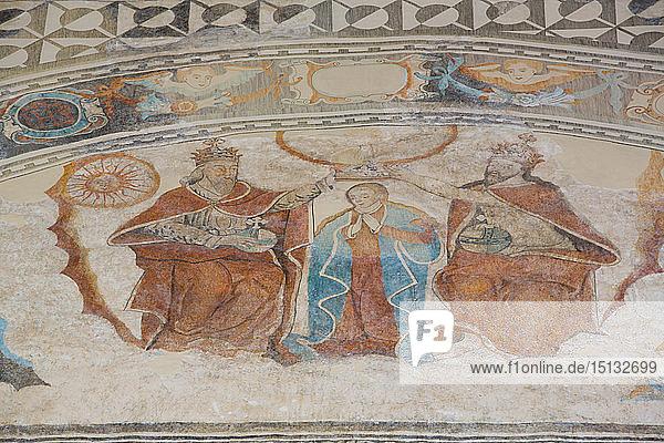 Coronation of the Virgin  Frescoes  Church of Santa Clara  founded 1553  Dzidzantun  Yucatan  Mexico  North America
