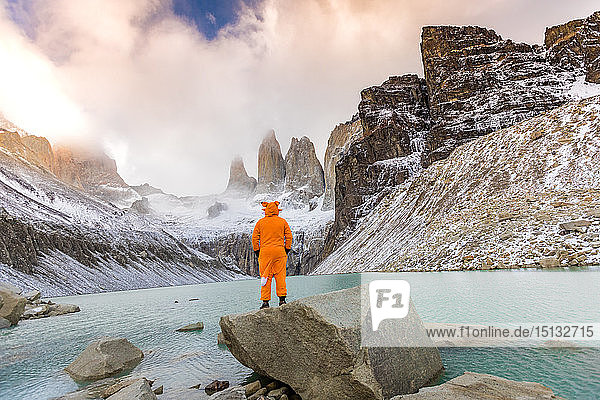 Enjoying the beautiful scenery in our Andean fox onesies  Torres del Paine National Park  Chile  South America