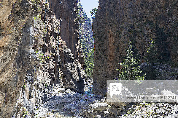 The Iron Gates  narrowest point of the Samaria Gorge  Samaria National Park  Agia Roumeli  Hania (Chania)  Crete  Greek Islands  Greece  Europe