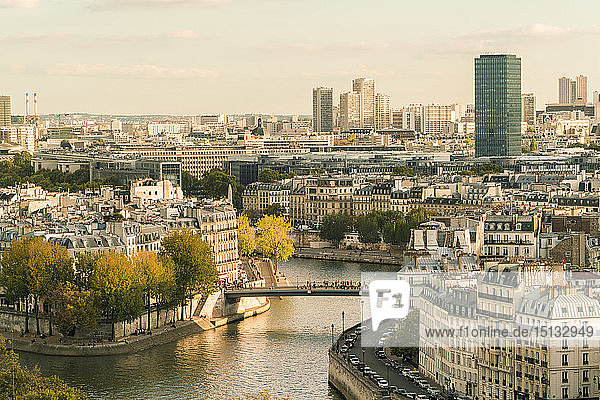 Ile Saint louis and Il de la Cite from Square of Saint-Jacques Tower  Paris  France  Europe