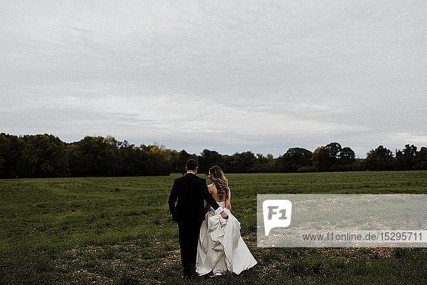 Romantischer junger Bräutigam mit Brautkleidschleppe im Feld  Rückansicht