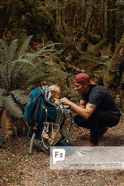 Hiker with baby exploring forest  Queenstown  Canterbury  New Zealand