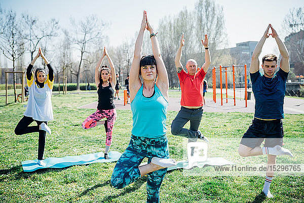 Calisthenics class at outdoor gym  women and men practicing yoga tree pose