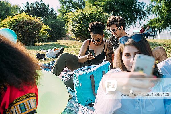 Eine Gruppe von Freunden entspannt sich  macht ein Picknick im Park