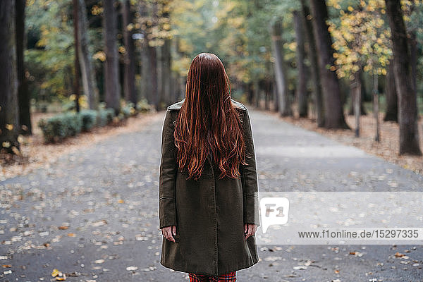 Young woman with long red hair covering her face in autumn park  portrait