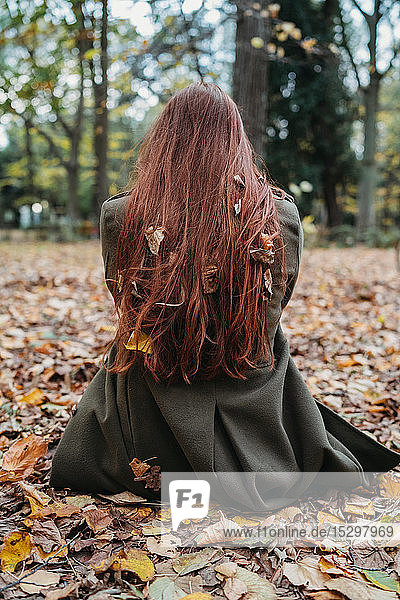 Young woman sitting on leaves in park with autumn leaves tangled in long red hair  rear view