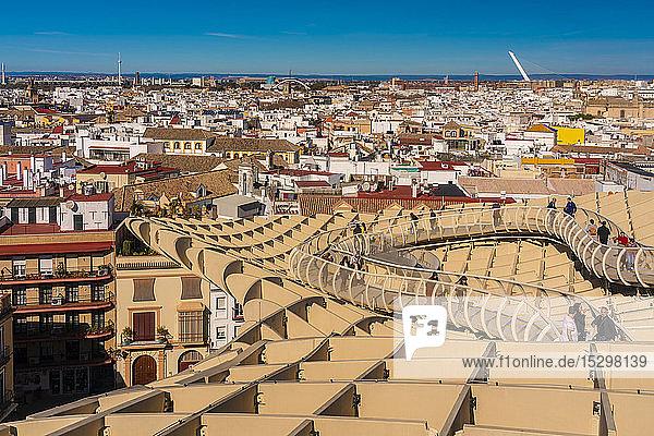 Cityscape with Metropol Parasol  Seville  Spain