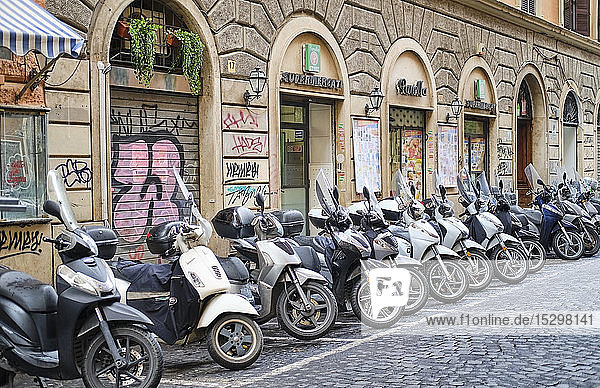 Parked motor scooters  Rome  Italy