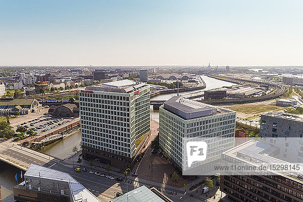 Cityscape with Hafencity and Der Spiegel building  Hamburg  Germany