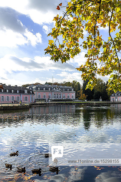 Benrath Palace and pond in autumn  Duesseldorf  Germany