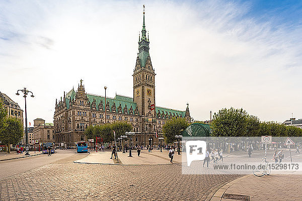City hall with townhall square  Hamburg  Germany
