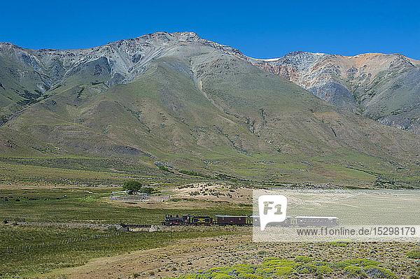 La Trochita narrow gauge railway between Esquel and El Maiten in Chubut Province  Argentina  South America